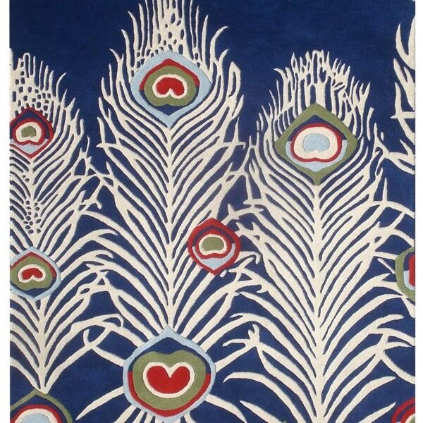 Safavieh Handmade Peacock Feathers Blue New Zealand Wool Rug