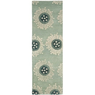 Safavieh Handmade Celebrations Light Blue Grey N. Z. Wool Rug (2'6 x 12')