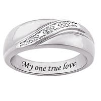 Sterling Silver Diamond Accent 'My one true love' Engraved Ring
