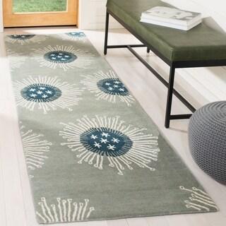Safavieh Handmade Celebrations Light Blue Grey N. Z. Wool Rug (2'6 x 6')