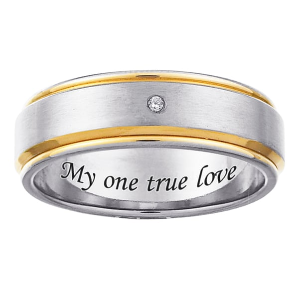 Two-tone Titanium Men's Diamond Accent 'My one true love' Engraved Ring