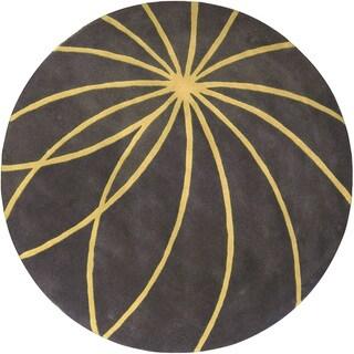 Hand-tufted Hastings Grey Floral Wool Rug (8' Round)