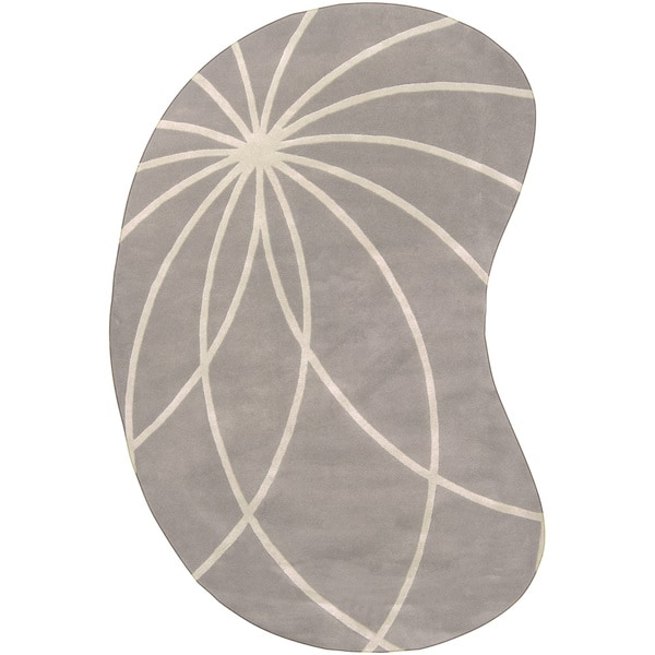 Hand-tufted Wanganui Cement Floral Wool Area Rug (8' x 10' Kidney) - 8' x 10'