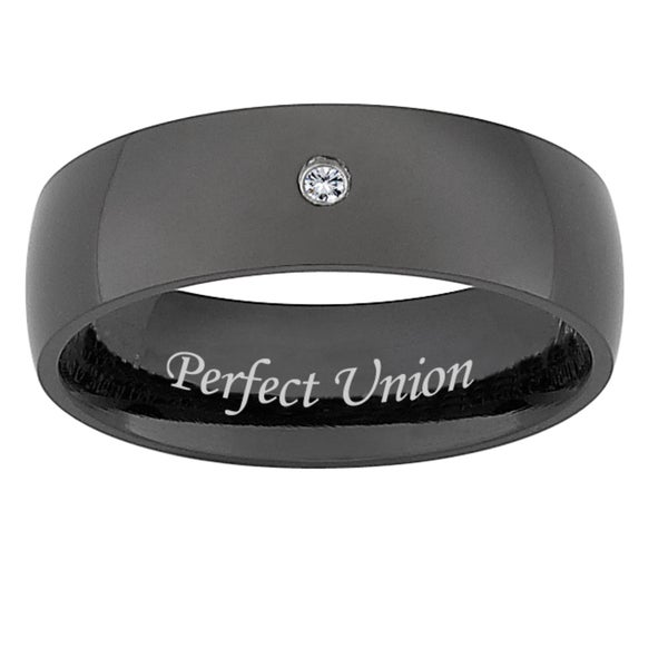 Black Titanium Men's Diamond Accent 'Perfect Union' Band (J-K, I3)