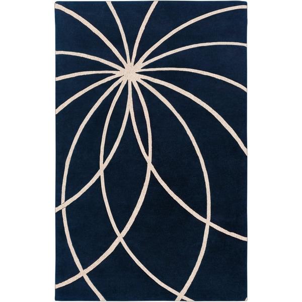 Hand-tufted Wellington Dark Blue Floral Wool Area Rug - 5' x 8'
