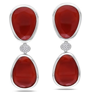 Miadora Sterling Silver Red Onyx and Created White Sapphire Earrings