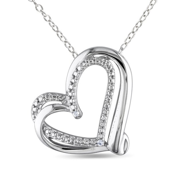 Miadora Sterling Silver Diamond Accent Interlocking Double Heart Necklace