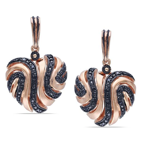 Miadora Rose Plated Silver 1/5ct TDW Black Diamond Heart Earrings
