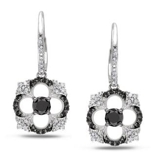 Miadora 14k Gold 1 1/5ct TDW Black and White Diamond Earrings