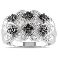 Miadora 14k White Gold 1/2ct TDW Black and White Diamond Ring