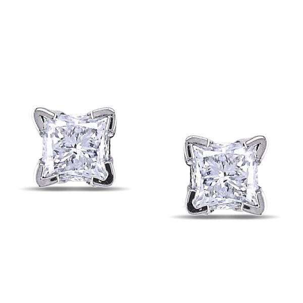 Miadora 14k White Gold 1/2ct TDW Diamond Stud Earrings