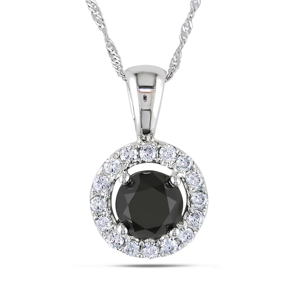 Miadora 18k White Gold 1 7/8ct TDW Black and White Diamond Necklace (G-H, SI1-SI2)