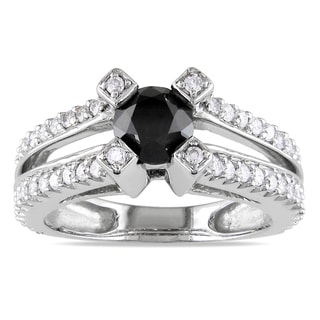 Miadora 14k White Gold 1 1/4ct TDW Black and White Diamond Ring
