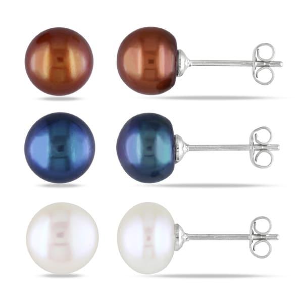 Miadora Pearl Three-Piece Set of Earrings (7-8 mm)