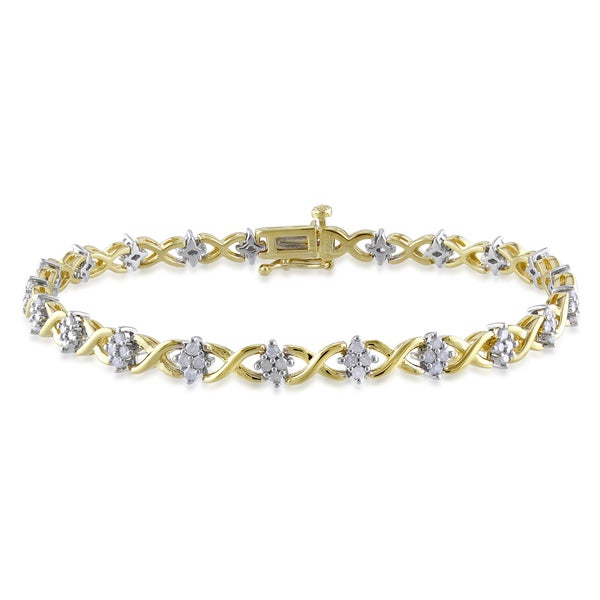 Miadora Two-tone Silver 1ct TDW Round-cut Diamond Bracelet