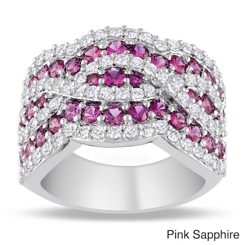 Miadora Sterling Silver Round-cut Gemstone and White Sapphire Ring