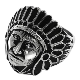 Vance Co. Men's Stainless Steel Native American Indian Head Ring