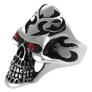 Vance Co. Men's Highly Polished Stainless-Steel Garnet Cubic Zirconia Skull Ring