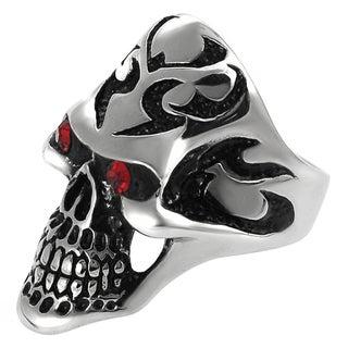Vance Co. Men's Highly Polished Stainless-Steel Garnet Cubic Zirconia Skull Ring