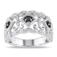 Miadora Sterling Silver 1/4ct TDW Black and White Diamond Ring