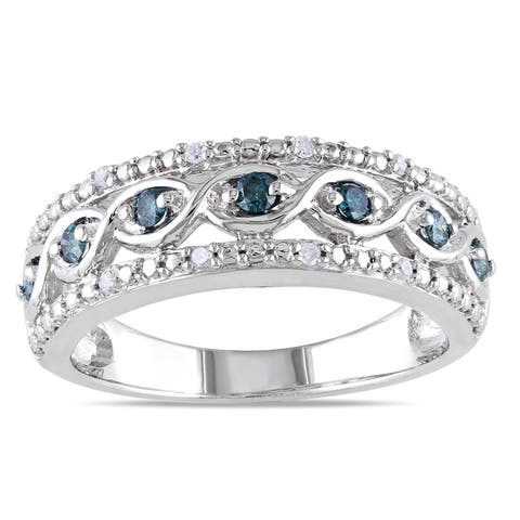 Miadora Sterling Silver 1/4ct TDW Blue and White Diamond Ring