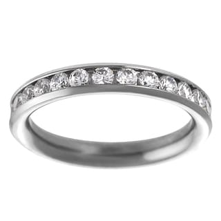 Journee Collection Women's Stainless Steel Clear CZ Eternity Ring