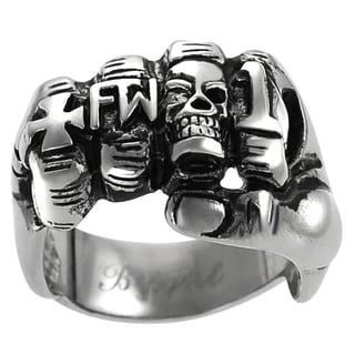 Vance Co. Men's Stainless Steel Fist Biker Ring