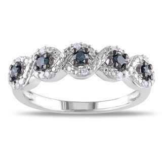 Sterling Silver 1/4ct TDW Round-cut Blue and White Diamond Ring