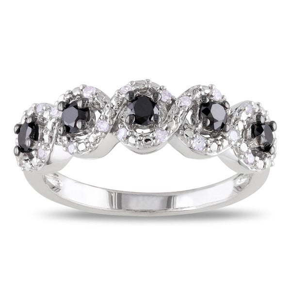 Sterling Silver 1/2ct TDW Black and White Diamond Ring
