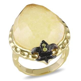 Catherine Catherine Malandrino Yellow and Black Plated Silver Gemstone Ring