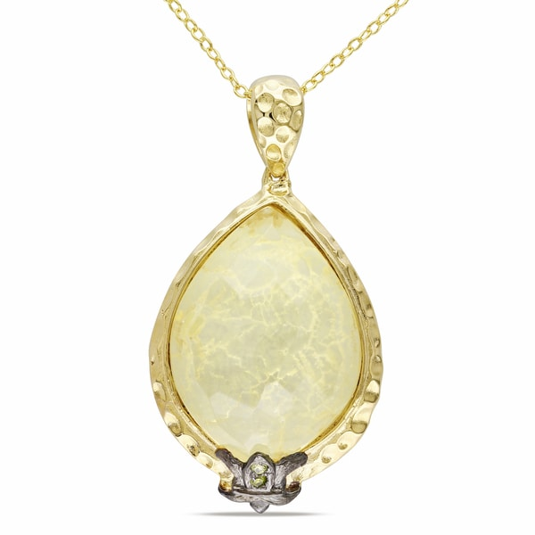 M by Miadora Yellow and Black Plated Silver Gemstone Necklace