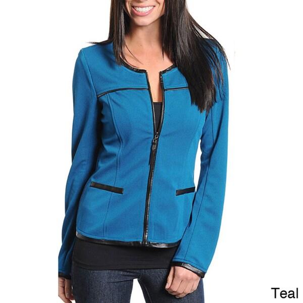 Stanzino Women's Round Neck Zip-up Jacket