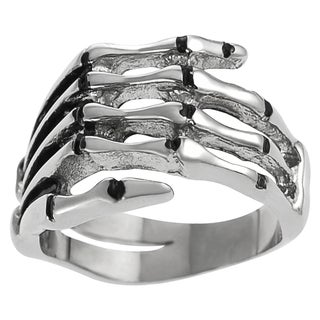 Vance Co. Men's Stainless Steel Skeleton Hand Ring