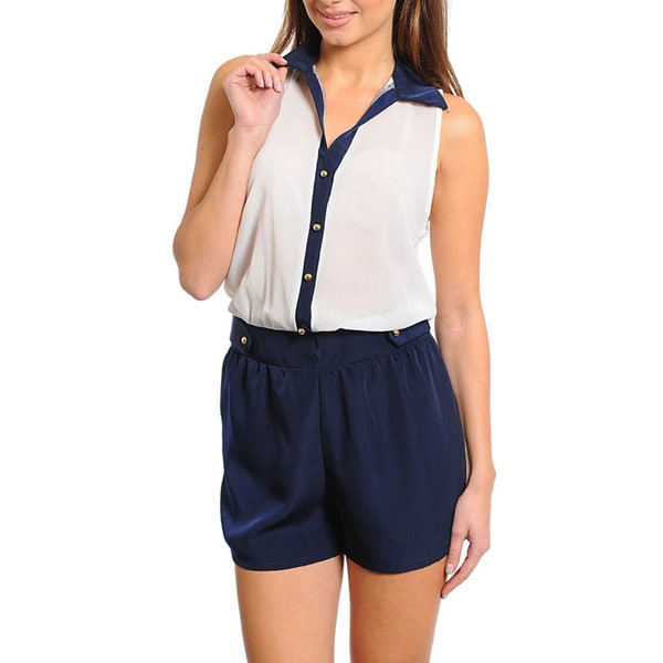 Stanzino Women's White and Navy Two-tone Sleeveless Romper