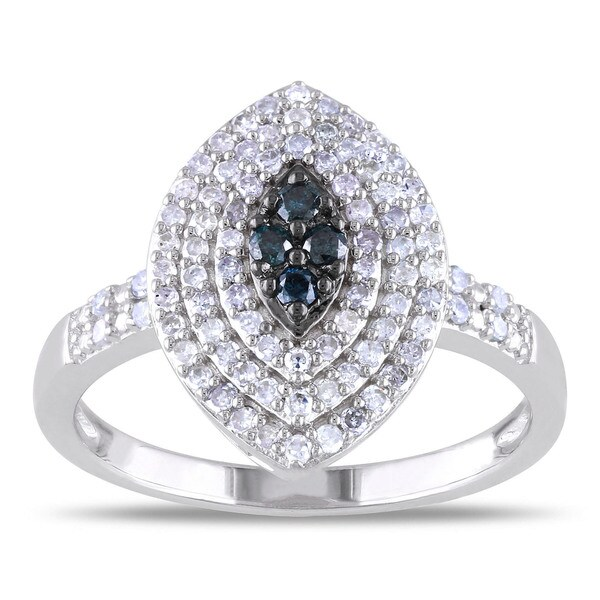 Miadora Sterling Silver 1/2ct TDW Blue and White Diamond Ring
