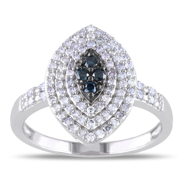 Miadora Sterling Silver 1/2ct TDW Blue and White Diamond Ring (H-I, I2-I3)