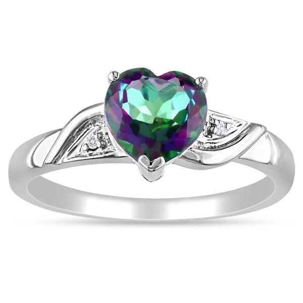 Miadora 10k White Gold Heart Green Topaz and Diamond Ring