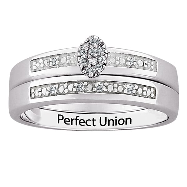 Silver Diamond 2-Piece Engraved 'Perfect Union' Bridal Set (J-K, I3)