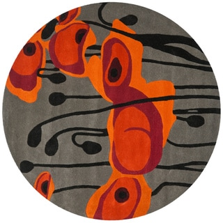 Safavieh Handmade Soho Modern Abstract Grey/ Orange Wool Rug (6' x 6' Round)