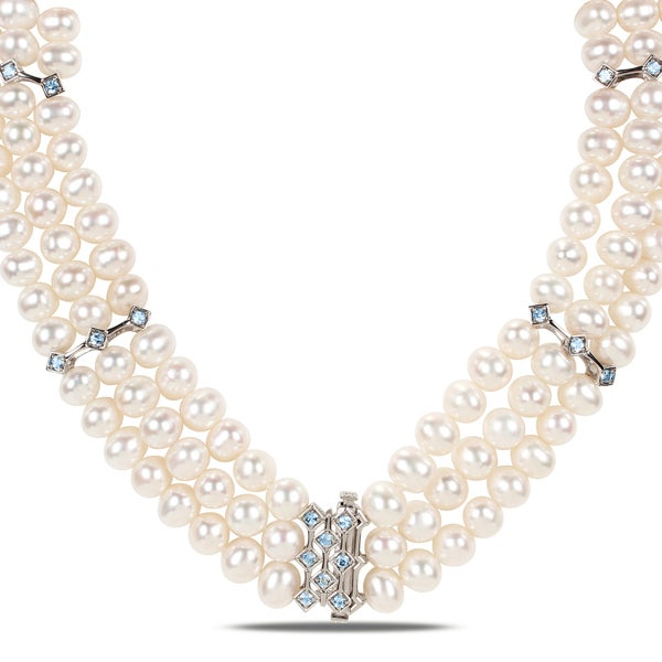 Blue Topaz And Pearl Necklace: Shop Miadora Sterling Silver White Cultured Freshwater