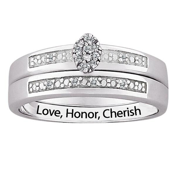 Silver Diamond 2-Piece Engraved 'Love, Honor, Cherish' Bridal Set (J-K, I3)
