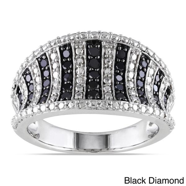 Miadora Sterling Silver 1/2ct TDW Black or Blue Diamond Ring