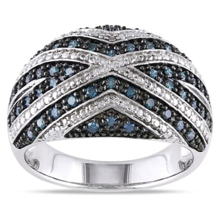 Miadora Sterling Silver 1/2ct TDW Blue Diamond Fashion Statement Ring