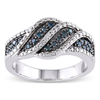 Miadora Sterling Silver 1/4ct TDW Blue Diamond Ring