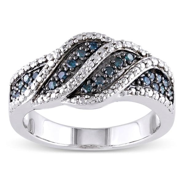 Miadora Sterling Silver 1/4ct TDW Blue Diamond Ring
