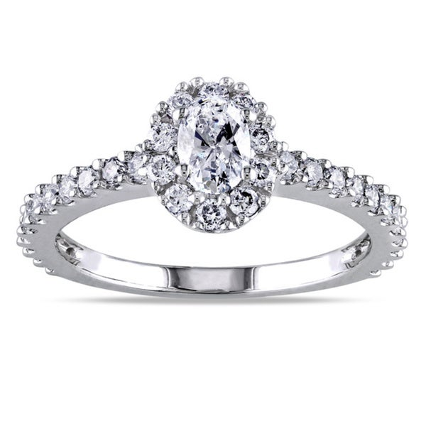 Miadora Signature Collection 14k White Gold 1ct TDW Certified Oval Halo Diamond Ring (G-H, I1-I2)