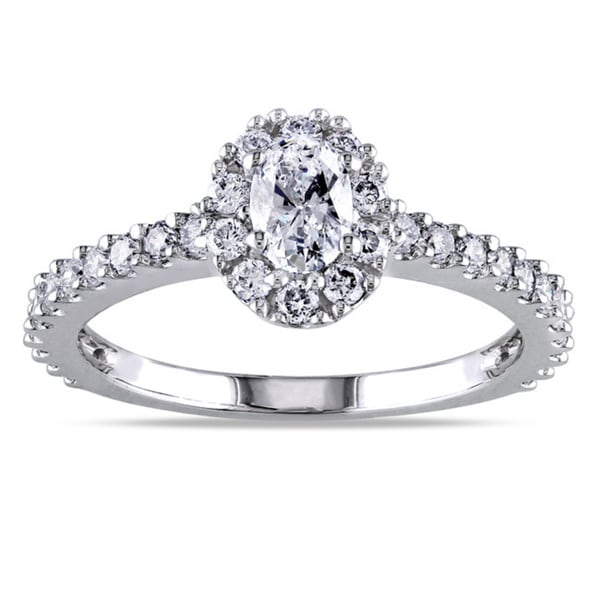 Miadora 14k White Gold 1ct TDW Certified Oval Halo Diamond Engagement Ring