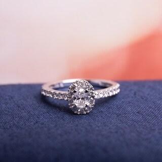 Miadora 14k White Gold 1ct TDW Certified Oval Halo Diamond Engagement Ring