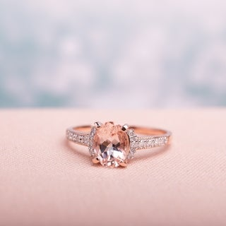 Oval-Cut Morganite and Diamond Ring in Rose Plated Sterling Silver by Miadora