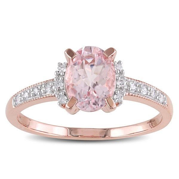 Miadora Rose-plated Sterling Silver Oval-cut Morganite and Diamond Accent Engagement Ring (G-H, I2-I3)
